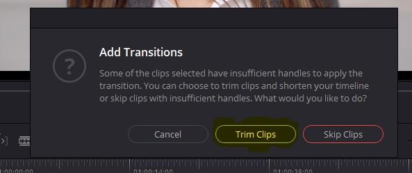davinci resolve add transition options