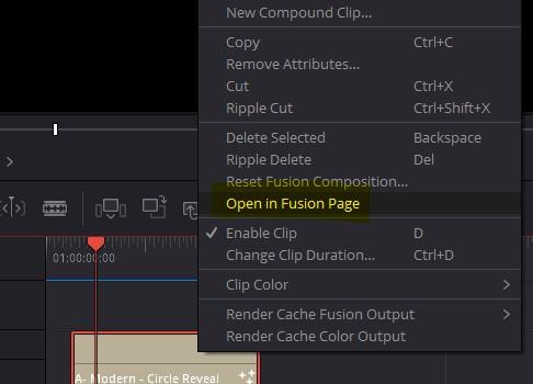 open in fusion tab davinci resolve
